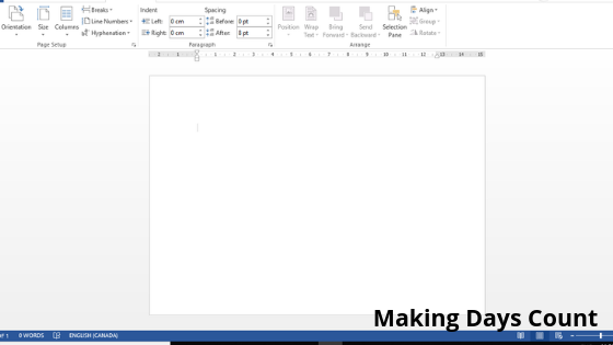 After setting the page size, this is what the document looks like