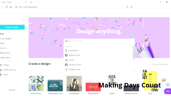 Canva's Main Page