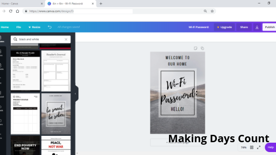 WiFi Password Sign Canva Template