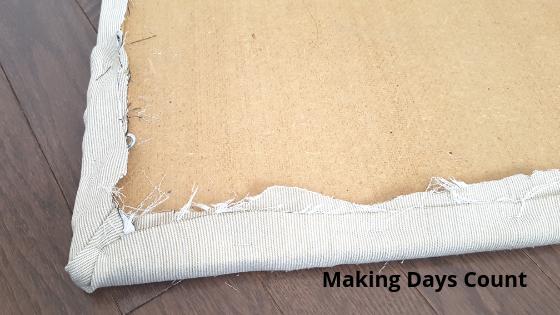 Stapling the corner fabric