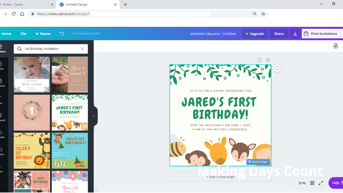 Choosing a birthday template on canva