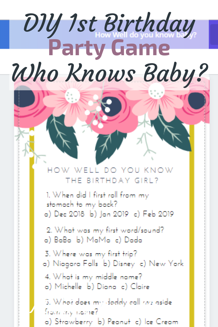 Who knows baby best? 1st birthday party game diy