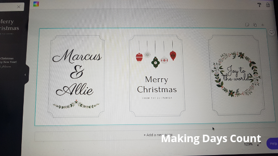 Canva Christmas tag text