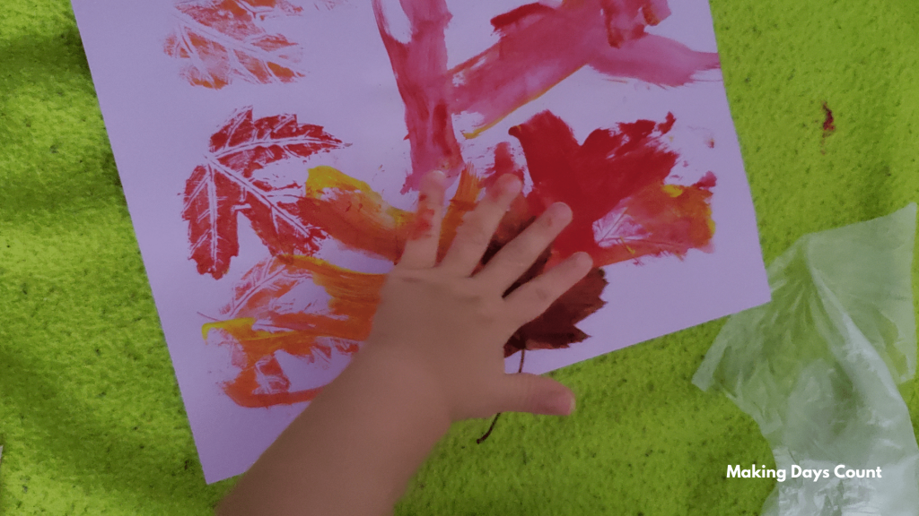 Indoor Toddler Activities: Painting with Leaves