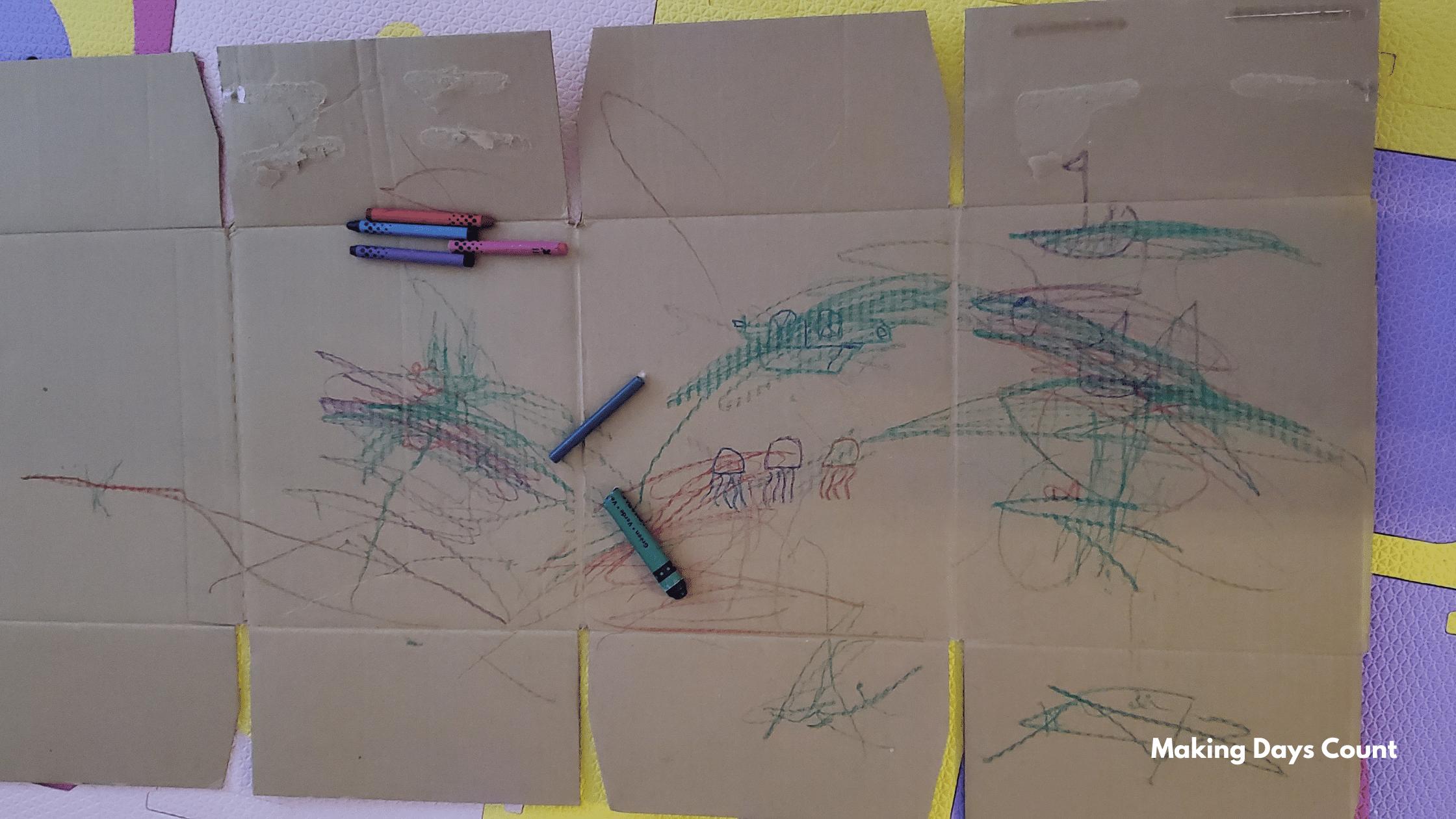 Indoor Toddler Activities: Cardboard drawing